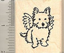 Terrier Dog Angel Rubber Stamp Wood Mounted E7601