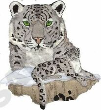 "Snow Leopard, Wild Animal, Exotic Cat Embroidered Patch 8""x 8.7""