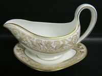 WEDGWOOD W4219 GOLD FLORENTINE GRAVY, SAUCE BOAT WITH DRIP TRAY - VGC
