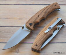 BROWNING ZEBRA-WOOD HANDLE FOLDING KNIFE WITH POCKET CLIP BRAND NEW!!!