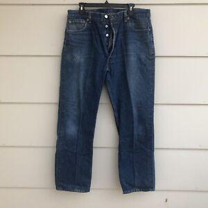 Vtg Levi's 501 XX Jeans Button Fly Blue Dark Denim USA tag 40x34 actual 36x30