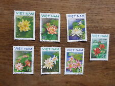 VIETNAM 1988 WATER FLOWERS SET 7 USED STAMPS