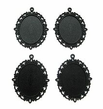 4 Goth Metallic BLACK Versailles 40mm x 30mm CAMEO PENDANTS Frames Settings
