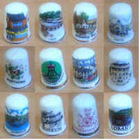 Misc - Ceramic Sewing Single Thimbles Places / Towns / Advertising - Various