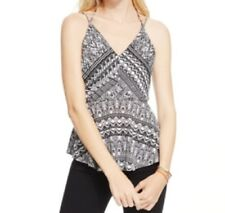 Jessica Simpson Juniors Geo Print Tiered Tank Top, Black/White, Small S