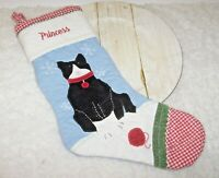 Pottery Barn Kids PRINCESS Monogram Quilted Christmas Stocking w Kitty Cat