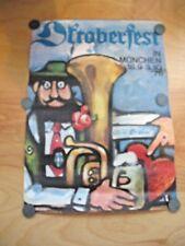 Vintage German Octoberfest Lufthansa Airline Airplane Signed Poster Beer Ale