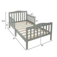 Wooden Baby Toddler Bed Children Bedroom Furniture with Safety Guardrail Gray