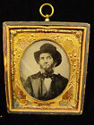 RARE CIVIL WAR TINTYPE IN GILT COPPER FRAME W/ FLAGS, SHIELDS & CANNONS C. 1863 for sale