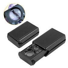 30X/60X Loupe LED UV Light Pocket Jewelry Eye Glass Diamond Folding Magnifier EB