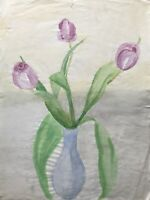 Aquarell Blumenstrauß Rosa Tulpen in blauer Vase Tulip Bouquet 29 x 39,5 cm
