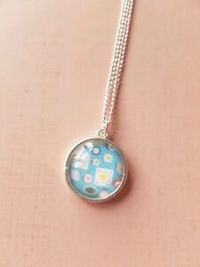 Cath Kidston Print Clocks Blue Time Vintage Shabby Pendant Necklace Gift