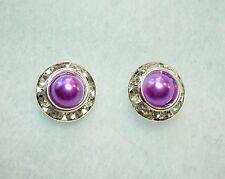 Purple Faux Pearl & Clear Crystal Silver Tone Stud Earrings Butterfly Back 9mm