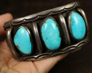 Vintage Navajo 3 NATURAL TURQUOISE Sterling Silver CUFF Bracelet VICTOR BEGAY