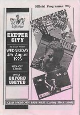 Football Programme>EXETER CITY v OXFORD UNITED Aug 1993