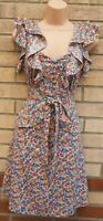DOROTHY PERKINS RUFFLE FRILL PEPLUM SKATER BELTED FLORAL MULTI COLOUR DRESS 14 L