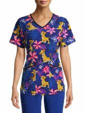 Lion King Disney Scrub Top Women's Plus Size M - 2X Simba Blue Purple Flower Nwt