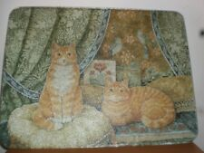 Glass Cutting Board With Red Cats Art Design 13 by 11 Inch