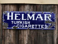 "Helmar Cigarettes Vintage 1920's Tobacco Porcelain Metal Sign 36"" Great Color"