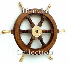 "Brass Handle Wall Decorative Item 18"" Wooden Ship Steering Wheel Pirate Captain"