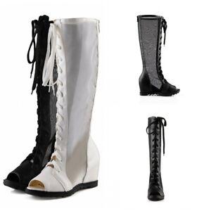 Summer Womens Knee High Boots Med Wedge Heel Peep Toe Mesh Sandals Shoes Roman L