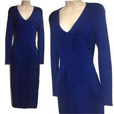HARPENNE Women UK 12 Maxi Jumper Dress Structured Ribbed Sweater Blue Side Slit