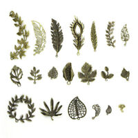 20pcs/Set Antique Leaves Pendant Beaded Jewelry Making Findings Craft DIY Pip
