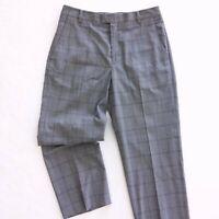 Nike Tiger Woods Golf Pants Gray Plaid Polyester Rayon Flat Front 34 x 32 Medium