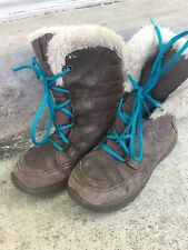 Columbia Girls Brown Snow Boots Youth Size 3 Lace Up Teal Fur Top Suede Winter