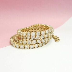 7.05 CT 14K Yellow Gold D VVS2 Diamond Choker Necklace Round Cut