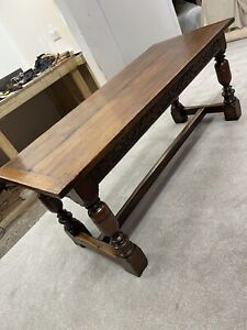 Early Edwardian Hand Carved Oak Refectory Table