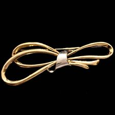Estate Solid 14K Yellow & White Gold Ribbon Bow Pin Brooch Vtg