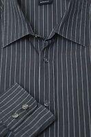 Hugo Boss  Men's Dark Gray on Gray Stripe Cotton Casual Shirt L Large