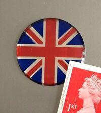 Union Jack Flag Sticker Domed Finish Red, Blue & Chrome 30mm Diameter