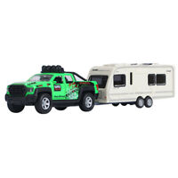 Trailer Tow Pickup Truck w/ Camper Van 1:36 Scale Car Model Diecast Toy Vehicle