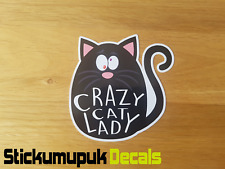 Crazy Cat Lady Funny Car Sticker, For Cat Lovers Van Dub JDM Sticker For Car Van