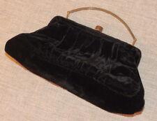 Vintage Black Velvet Small Evening Bag Purse Satine Lined Brass Hardware