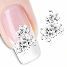 Nail Sticker 1sheet French Tip Water Transfer Tool White Flower Polish Art Decal