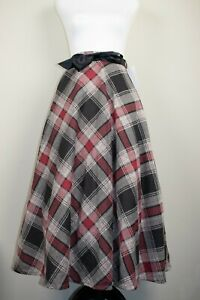 Mid Century Cottagecore Tartan Plaid Midi Swing Skirt w Pockets BNWT Sz 12 14 16