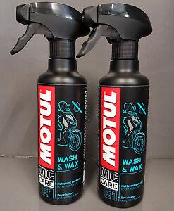 2x Motul Wash&Wax E1 400ml Pumpspray Trockenreiniger für Motorrad und PKW +####