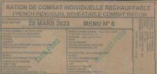 LOT DE 8 Rations de combat  AVEC PORC RCIR 7 menus différents DDM 2023