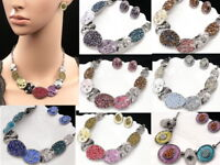 Elegant enamel crystal beads statement collar necklace earring party jewerly N71