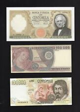 3 Riproduzioni Banconota 100000 lire Marconi,Botticelli,Caravaggio-Lire Italiane