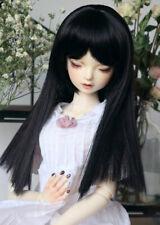 1/3 8-9-10 Bjd Pullip Doll Long Wig Hair Atrous Coal Black Iron Perm Straight C4