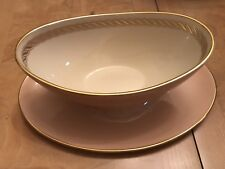PINK/GOLD trim CARIBBEE LENOX china GRAVY BOAT w ATTACHED UNDERPLATE dis 1970