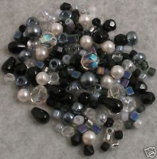192+ BLACK/WHITE/CRYSTAL LOOSE GLASS BEADS Czech-Miyuki-AB+Lot
