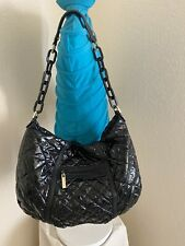 Tory Burch Alice Black Quilted Wet Nylon Leather Trim Hobo Shoulder handbag