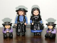 5 pc Vintage Cast Iron Mini Figures Amish Couple Sitting on Bench & 2 Young Boys
