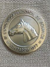 Beautiful antique rare medal silver plated, of national equine competition, 1977