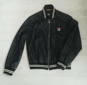 Men's Vintage FILA White Line 'Matchday' Leather Jacket - Black - Size Medium